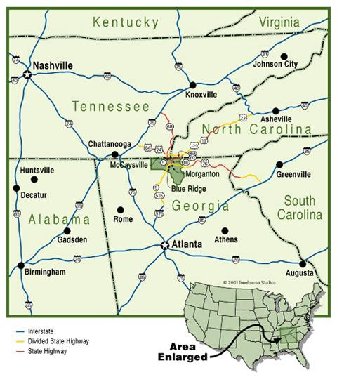 Map Of North Georgia Mountain Towns.Map And Directions Fannin County Chamber Of Commerce Blue